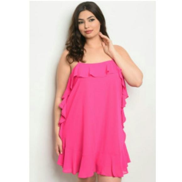 Pink mini dress ruffles plus size 1X 2X 3X SALE Boutique